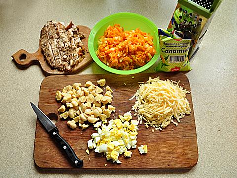 куриный салат с шампиньонами пошагово