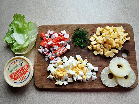 салат с крабовыми палочками пошагово