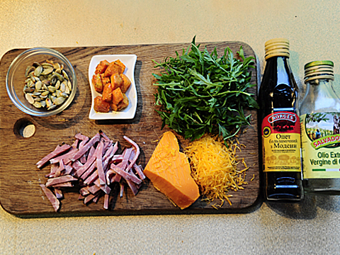 салат из тыквы с ветчиной пошагово