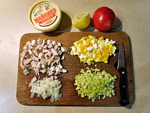куриный салат с сельдереем фото